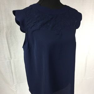 Monteau navy blue short sleeved lace top Small
